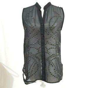 Sans Souci Sheer Blouse Black Embellished Hi Lo Sm